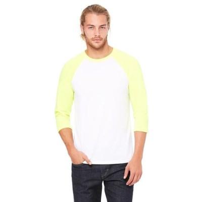 ユニセックス 衣類 トップス The Bella + Canvas Unisex 3/4 Sleeve Baseball T-Shirt - WHT/ NEON YELLOW - XS Tシャツ