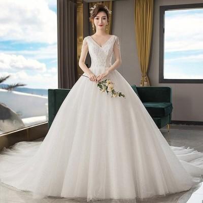 ウェディグドレス  結婚式 花嫁 二次会 プリンセスラインドレス ドレス オフホワイト 安い 海外挙式 大きいサイズ 前撮り 後ろ撮り トレーン 白 送料無料