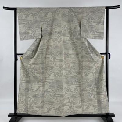 紬 美品 秀品 草花 籬 灰緑 単衣 158.5cm 62cm S 正絹 中古