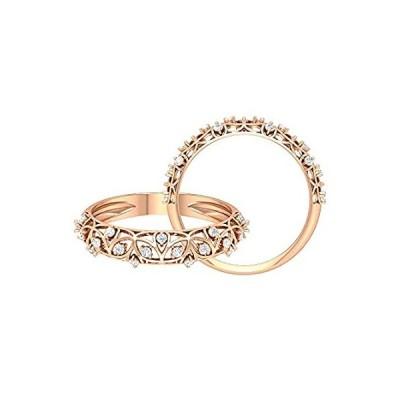 0.19カラット SGL認定 ダイヤモンド アールデコ フローラル 結婚指輪 ブライダル ゴールド アニバーサリー リング ユニークなフィリグリーリー