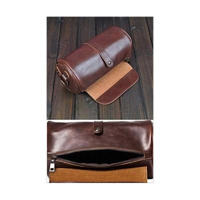 マローサム 上品 な 丸形 多機能 メンズ ショルダー バッグ 斜め掛け PU 革 黒 ブラック