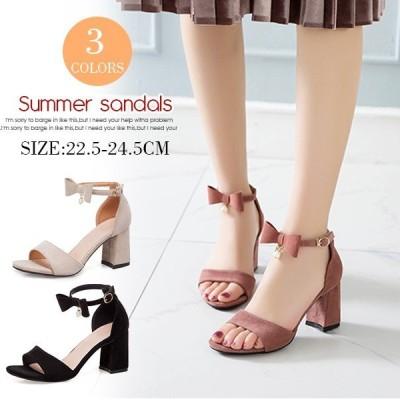 サンダル歩きやすいリボンハイヒール美脚太ヒールシューズレディース夏靴おしゃれ大きいサイズ