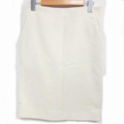 【中古】ドゥロワー Drawer 近年 裏地シルク100% コーデュロイ スカート ひざ丈 アイボリー 36 0405  ECR3 レディース
