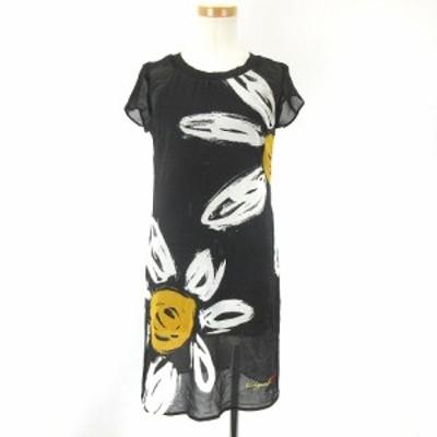 【中古】デシグアル Desigual ワンピース シフォン 花柄 ひざ丈 半袖 黒 XS 小さいサイズ ECR3 レディース
