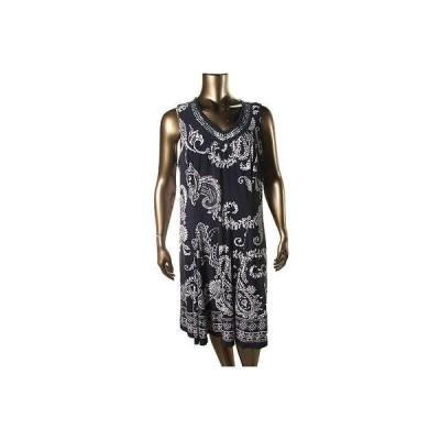ドレス ワンピース JM Collection JM コレクション 2647 レディース ネイビー プリント Embellished Tank ドレス Plus 2X BHFO