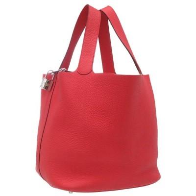 美品 エルメス ピコタンロックGM トリヨンクレマンス ブーゲンビリア シルバー金具 □O刻印 ハンドバッグ バッグ 赤 0080 HERMES