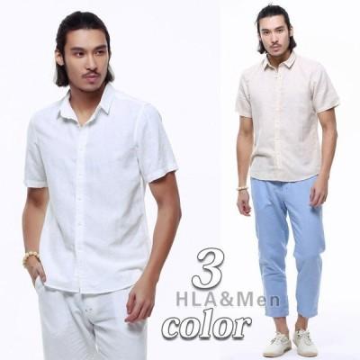 シャツ メンズ 半袖 リネンシャツ 綿麻 白シャツ 麻シャツ 無地 カジュアルシャツ カラー 夏 サマー