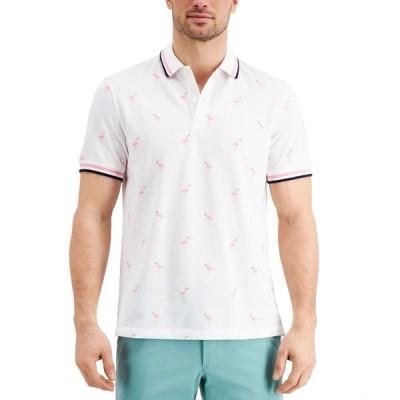 クラブルーム Club Room メンズ ポロシャツ トップス Stretch Flamingo Pattern Polo Shirt's Bright White