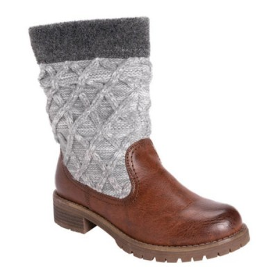 ムクルクス ブーツ&レインブーツ シューズ レディース Fable Mid Calf Sweater Boot (Women's) Cognac Polyurethane/Acrylic Fabric
