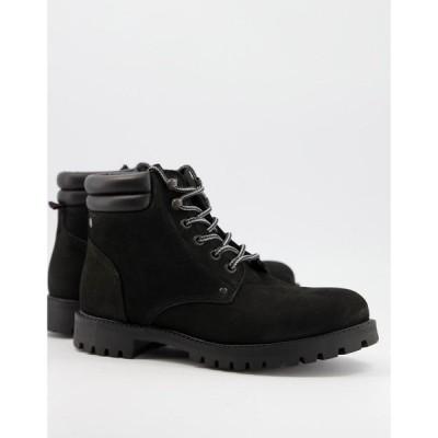 ジャック アンド ジョーンズ Jack & Jones メンズ ブーツ レースアップブーツ シューズ・靴 Lace Up Trucker Boot In Black Leather ブラック