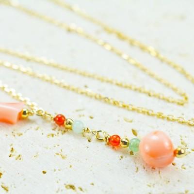 紅サンゴ+天然石+K10ネックレス【F】