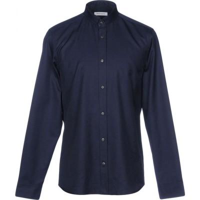 マウロ グリフォーニ MAURO GRIFONI メンズ シャツ トップス solid color shirt Dark blue