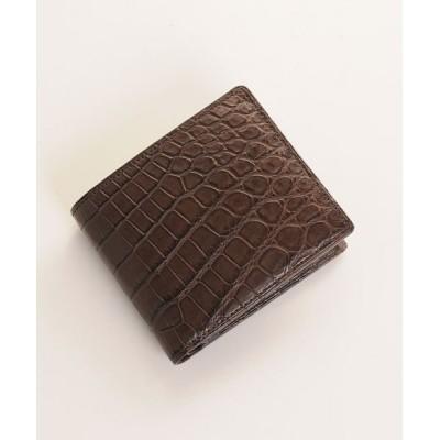 【サンキョウショウカイ】 クロコダイル 無双 折り財布 日本製 小銭入れ付き 一枚革 メンズ ダークブラウン系1 FREE sankyoshokai