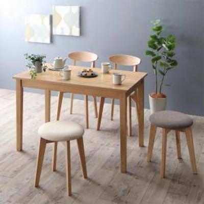 ダイニングテーブルセット 4人用 椅子 おしゃれ 安い 北欧 食卓 5点 ( 机+チェア2脚+スツール2脚 ) ナチュラル 幅115 デザイナーズ クー