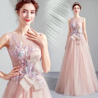 カラードレス ロングドレス ウェディングドレス パーティードレス 発表会 大きいサイズ 結婚式 ワンピース 二次会 ドレス 演奏会用ドレス 安い ピンク 長袖