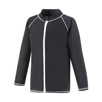 【Asbrio】ラッシュガード キッズ メンズ レディース 長袖 豊富なサイズ 80?170cm UVカット (ブラック, 100)