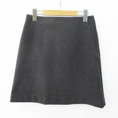 【中古】ユニクロ UNIQLO ミニ丈 台形スカート 灰系 グレー 無地 裏地 毛 ウール混 レディース