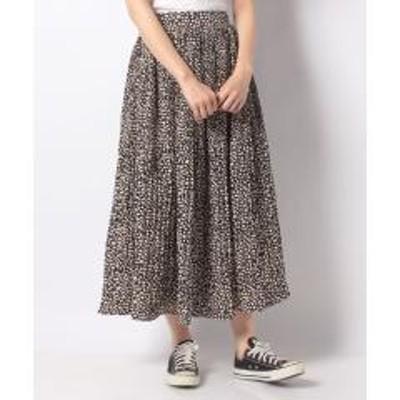 グリーンパークス・novem 9 フラワープリントケシプリーツスカート