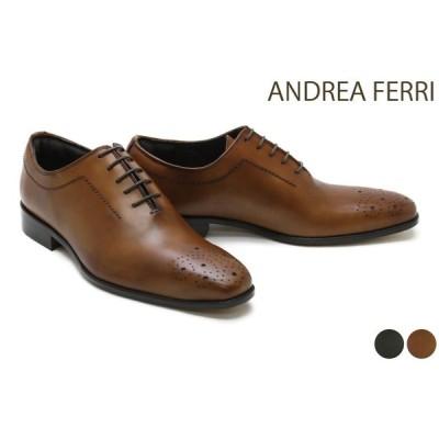 アンドレア フェリ / ANDREA FERRI メンズ ドレスシューズ f14af ホールカットメダリオン ダークグリーン ライトブラウン イタリア製