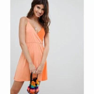 エイソス ワンピース ASOS DESIGN Colour Block Slinky Wrap Sundress Multi
