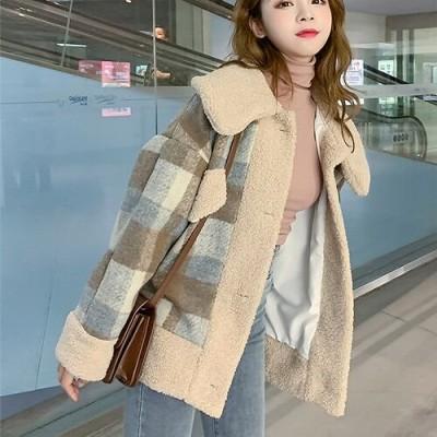 ◆送料無料◆今が絶対買い流行のレディースアウター 秋冬新作  チェック柄 短いスタイル 子羊の毛   ウールコート