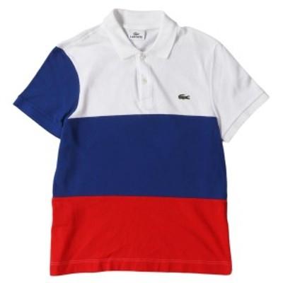 LACOSTE (ラコステ) ロシア国旗カラーコットン鹿の子ポロシャツ(F5191) ホワイト×ブルー×レッド 2【メンズ】【中古】【美品】【K2373】
