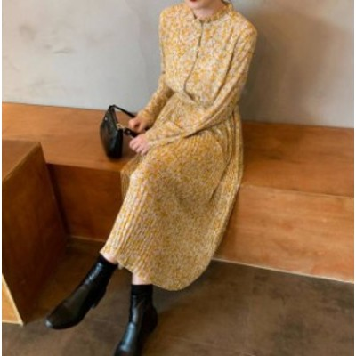 3色 ワンピース ロング 花柄 プリーツ フレア 長袖 ゆったり レトロ 大人可愛い 韓国 オルチャン ファッション