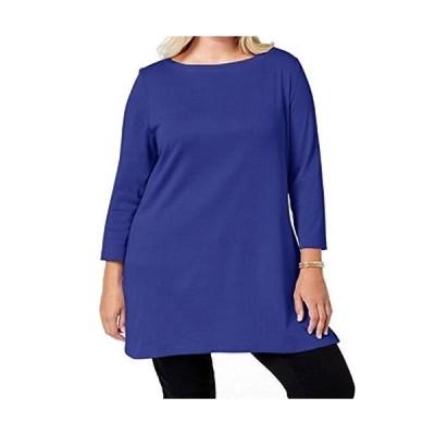 Karen Scott Womens Plus Cotton Boat-Neck Tunic Top Blue 0X並行輸入品 送料無料