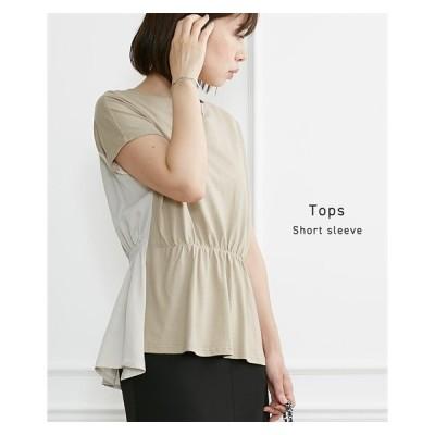 Tシャツ カットソー レディース ウエスト すっきり見せ 前後 異素材切替 トップス M/L ニッセン nissen