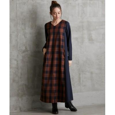 大きいサイズ MOODE 異素材使いVネックAラインロングワンピース ,スマイルランド, ワンピース, plus size dress