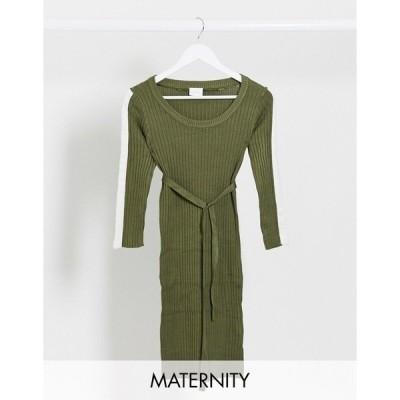 ママライシアス レディース ワンピース トップス Mamalicious stripe sleeve sweater dress in khaki Khaki
