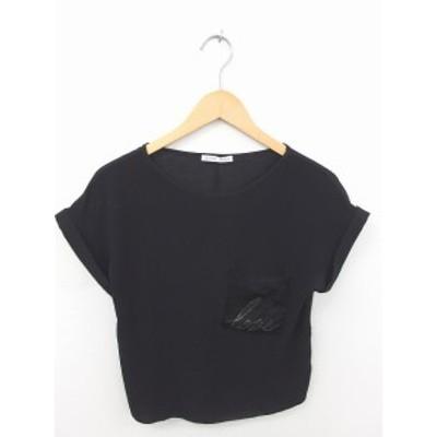【中古】ザラ ZARA カットソー Tシャツ 丸首 ビーズ装飾 胸ポケット 半袖 S 黒 ブラック /TT25 レディース