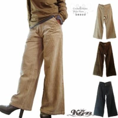 ワイドパンツ ベイカー レディース コーデュロイ ロングパンツ 無地 ボトムス ズボン 全3色 M-4L