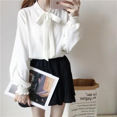 白おしゃれ無地長袖リボンシャツゆったりシンプル20192色大人新作