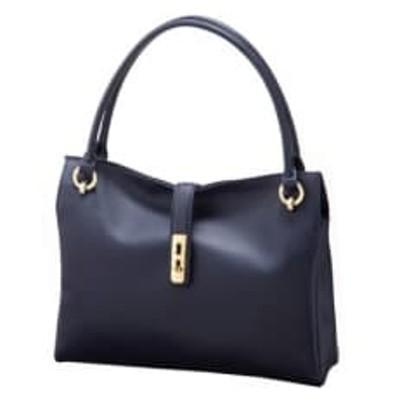 【濱野皮革工藝のディライトエレガンスハンドバッグ】美しいデザインのハンドバッグです。(ネイビー)