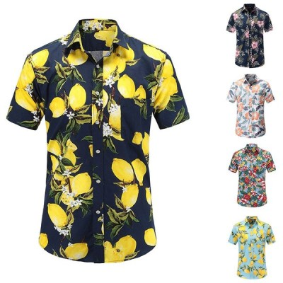 アロハシャツ メンズ  半袖 ハワイアンシャツ ゆるい 大きいサイズ  オシャレ b系 ストリート系 人気  トレンド 花柄 開襟 夏 ビーチ カジュアル 旅游