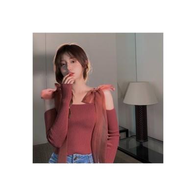 【送料無料】ひもあり リボン 底セーター 女 秋冬 着やせ 着やせ ニット 長袖 | 346770_A64394-9467568