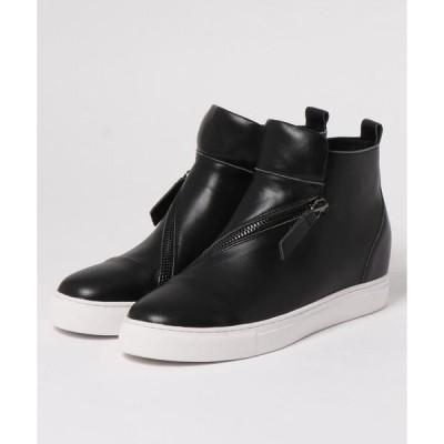 ブーツ ALL BLACK サイドジッパーデザインブーツ