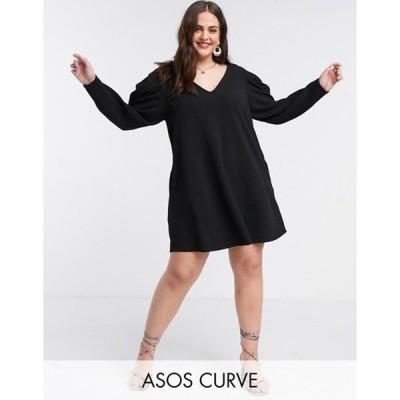 エイソス レディース ワンピース トップス ASOS DESIGN Curve mini swing dress with v neck and pleated sleeve in black