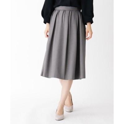 スカート 【大きいサイズあり・13号】タックギャザーウールスカート