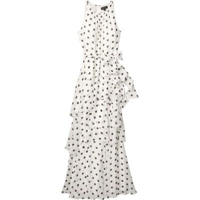 タハリ Tahari by ASL レディース パーティードレス ワンピース・ドレス Ruched Neck Gown White/Black Dot