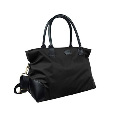 ECOSUSI Duffle Bag Weekender Bag Nylon Overnight Bag Travel Tote Carry On Bag with Trolley Sleeve for Travel, Sports, Black【並行輸入品】