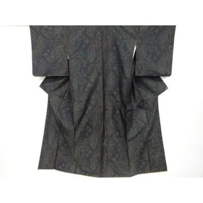宗sou 石畳に花古典柄織出本場泥大島紬着物【リサイクル】【着】