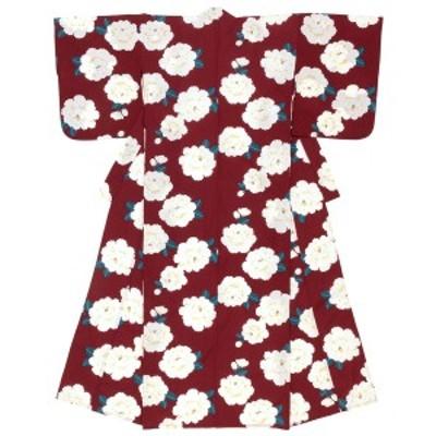 浴衣 レディース レッド 赤系 白 牡丹 ボタン 花 雨縞 綿 夏祭り 花火大会 女性用 仕立て上がり【Sサイズ】【フリーサイズ】【送料無料】