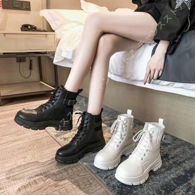 マーティンブーツ レディース 編み上げ 厚底ブーツ 美脚 防水シューズ 6cm ヒールアップ 軽量 身長アップ 婦人靴 レースアップブーツ 黒 白 裏起毛