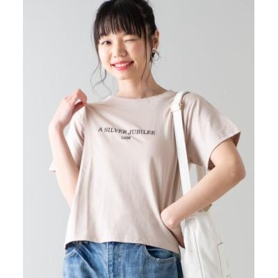 (WEGO/ウィゴー)WEGO/1925刺繍ロゴTシャツ/ユニセックス ベージュ