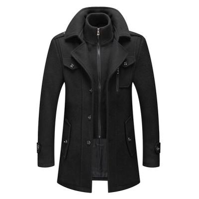 チェスターコート メンズ ウールコート ビジネスジャケット 厚手 通勤 防寒 高級感 ショートジャケット トレンチコート 紳士服 男性用コート 通勤用 2020