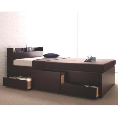 セミダブルベッド シックハウス対応 引出し収納・コンセント・マットレス付き ダークブラウン 日本製 国産品 チェスト付ベッド
