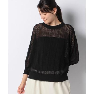 【マーコート】 linen blend 3/Q slv pattern knitting プルオーバー レディース ブラック f MARcourt