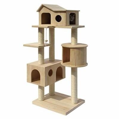 キャットハウス 猫は、大きな木製の木猫スクラッチポストは、カバード・ハ (新古未使用品)
